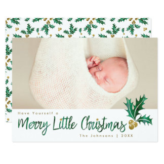 Merry Little Christmas Green Gold Holly Watercolor Card
