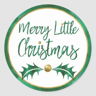 Merry Little Christmas Green & Gold Watercolor Classic Round Sticker
