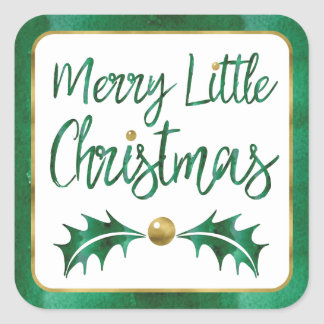 Merry Little Christmas Green & Gold Watercolor Square Sticker