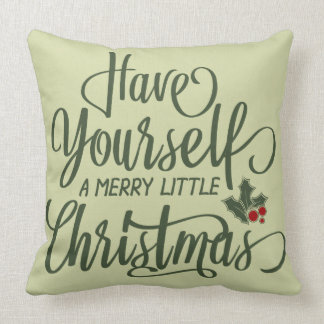 Merry Little Christmas | Holly Berries & Text Throw Pillow