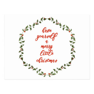 Merry Little Christmas - Holly Wreath Postcard
