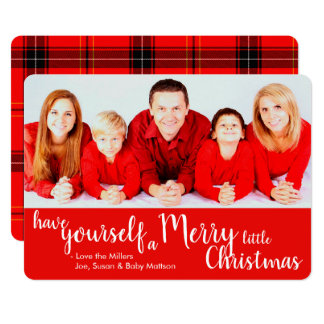 Merry Little Christmas Photo Card Red with Plaid