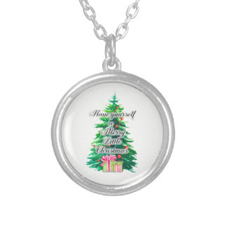Merry Little Christmas Tree and Presents Silver Plated Necklace