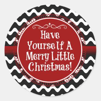 Merry Little Christmas Wavy Chevron Classic Round Sticker