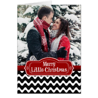 Merry Little Christmas Wavy Chevron Photo Card