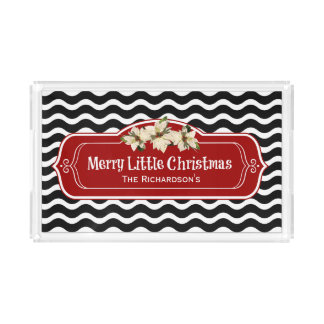 Merry Little Christmas Wavy Chevron Poinsettia Acrylic Tray