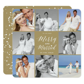 Merry & Married First Christmas Photo Collage Card