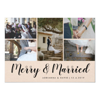 Merry & Married | Five Photo | Christmas Wedding Card