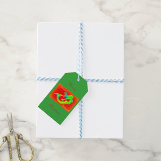Merry Mermaid Christmas green/red Gift Tags