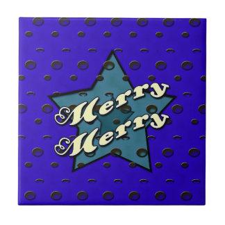 Merry Merry Blue Star Tile