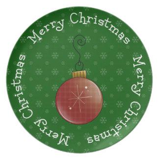 Merry Merry Christmas Bulb Dinner Plate