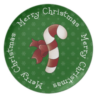 Merry Merry Christmas Candy Cane Dinner Plates