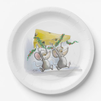 Merry Mice Mic & Mac Holiday Paper Plate
