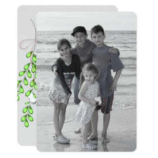 Merry Mistletoe in grey Holiday photo card