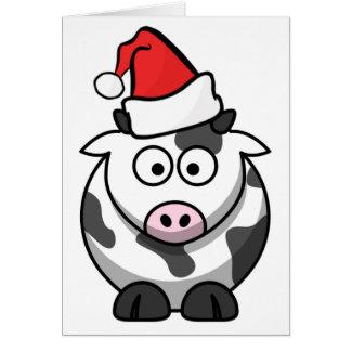 Merry Moo Christmas Cow Santa Hat Custom Words Card