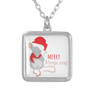 Merry Mouse-mas Silver Plated Necklace