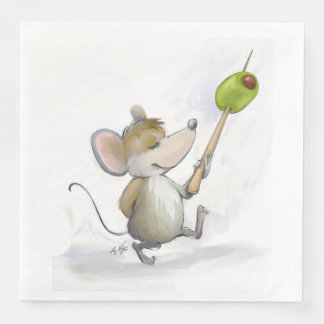 Merry Mouse Moe with Olive Paper Napkin