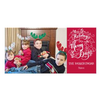 Merry n Bright Holidays Modern Photo Christmas Card