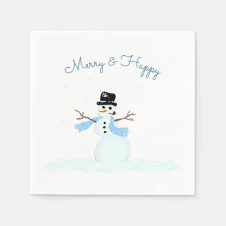 Merry n Happy Snowman Christmas Party Disposable Napkin