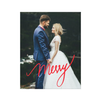 Merry | Newlywed First Christmas Wedding Photo Canvas Print