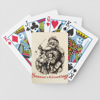 Merry Old Santa Claus Season's Greetings Bicycle Playing Cards