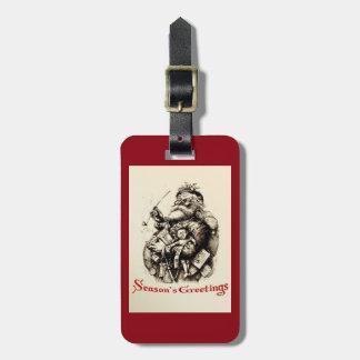 Merry Old Santa Claus Season's Greetings Luggage Tag
