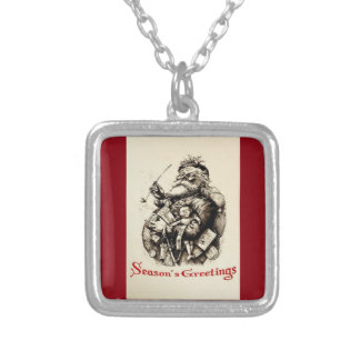 Merry Old Santa Claus Season's Greetings Silver Plated Necklace