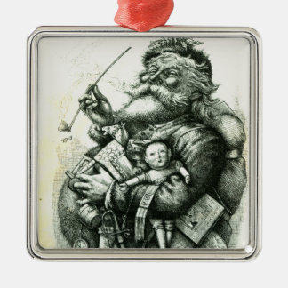Merry Old Santa Claus Silver-Colored Square Ornament