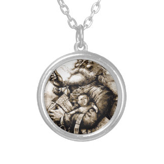 Merry Old Santa Silver Plated Necklace