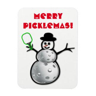 Merry Picklemas Snowman Magnet