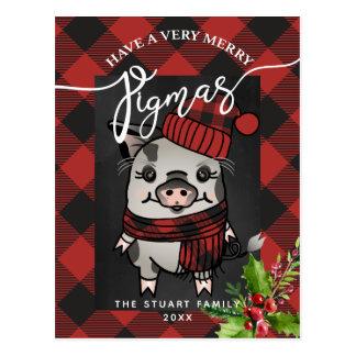 Merry Pigmas Buffalo Plaid Postcard