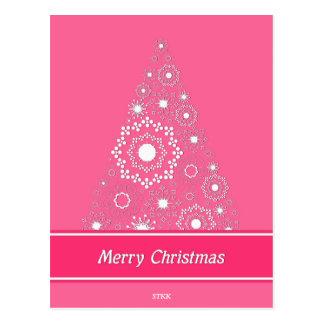 Merry Pink Christmas Postcard