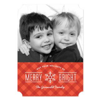 "Merry Plaid Holiday photo card 5"" X 7"" Invitation Card"