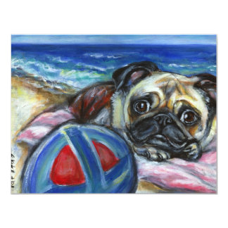 Merry Pug at the beach Card