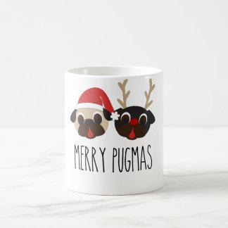 Merry Pugmas Christmas Reindeer & Santa Pug Mug