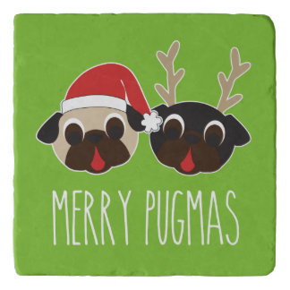 Merry Pugmas Christmas Santa Pug Reindeer Pug Trivet