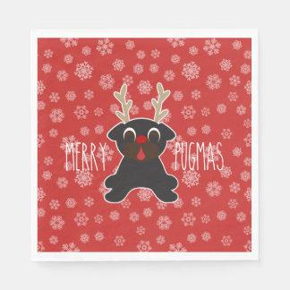 Merry Pugmas Pug Reindeer Christmas Snowflakes Disposable Napkins