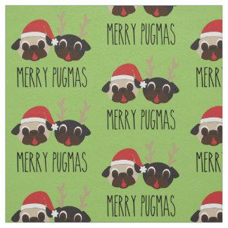 Merry Pugmas Pug Santa Pug Reindeer Fabric
