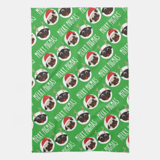 Merry Pugmas Santa Reindeer Pugs Pattern Kitchen Towel