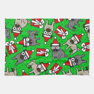 Merry Pugs (Green) Towels