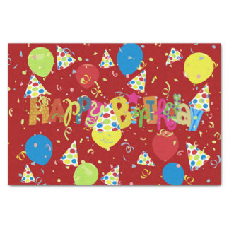 Merry Red Happy Birthday Tissue Paper