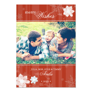 Merry Red Stripes Floral Holiday Photo Card