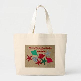Merry Sand, Seashells, and Starfish Jumbo Tote Bag