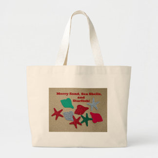 Merry Sand, Seashells, and Starfish Large Tote Bag
