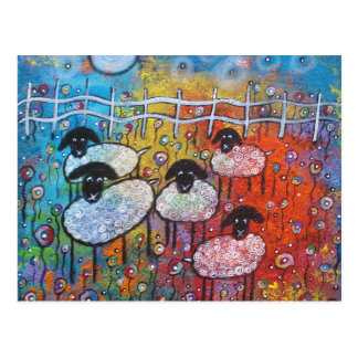 Merry Sheep in the Flowers Post Card