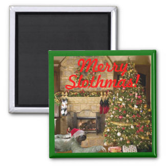 Merry Slothmas Square Magnet