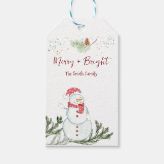 Merry Snowman Christmas Gift Tags