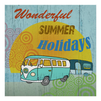 Merry summer poster in 70's styles