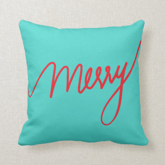 Merry | Teal Hand Lettered Holiday Throw Pillow