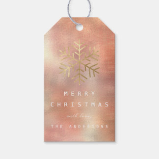Merry To Holiday Gift Peach Gold Linen Snowflakes Gift Tags